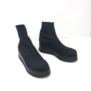 Robert Clergerie Black Jersey Fabric Platform Boot